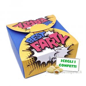 Portaconfetti Blu stile Pop Art 5x5x2.5 cm - Scatole matrimonio