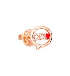 ORECCHINO MESSAGGIO Oro rosa 9kt, Diamanti, Smalto