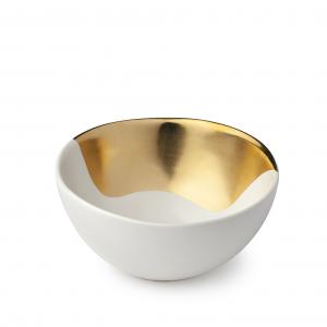 Hervit -  ciotola in porcellana oro e avorio