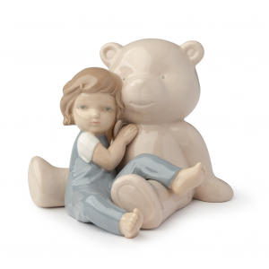 Royal Class - Orso beige con bimbo in porcellana