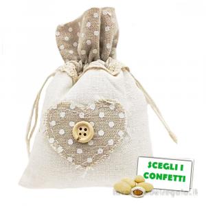 Portaconfetti Shabby con Cuore 10x14 cm - Sacchetti comunione e matrimonio
