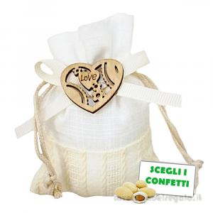 Portaconfetti con Cuore in legno 8x10 cm - Sacchetti matrimonio