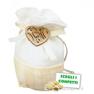 Portaconfetti con Cuore in legno 9x12 cm - Sacchetti matrimonio