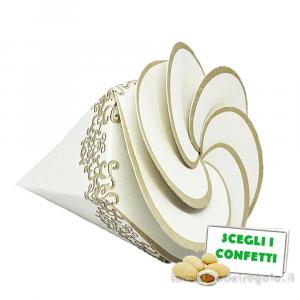 Portaconfetti Chantal Bianco cono a spirale 8 cm - Scatole matrimonio