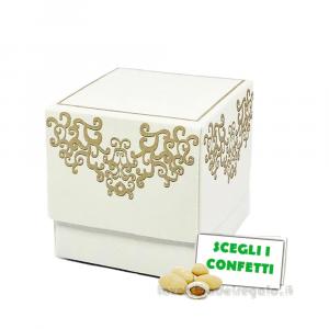 Portaconfetti Chantal Bianco 5x5x5 cm - Scatole matrimonio