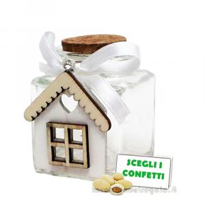 Barattolino portaconfetti con Casetta in legno e fiocco 4x4x6 cm - Contenitori matrimonio
