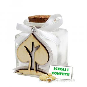Barattolino portaconfetti con Albero in legno e fiocco 4x4x6 cm - Contenitori matrimonio