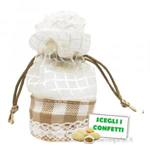 Portaconfetti Crema con fiore 6x8 cm - Sacchetti comunione e matrimonio