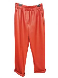Pantalone donna |ecopelle rosso | modello jogging |arricciatura in vita | tasca laterale | Made in Italy