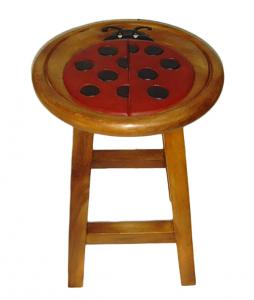 Sgabello in legno tondo con Coccinella