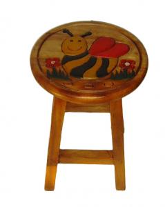 Sgabello in legno tondo con Ape