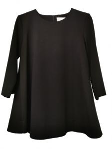 Maxi maglia donna nera , tessuto Punto Milano   manica lunga   svasata al fondo con piccola cerniera posteriore  Made in Italy   