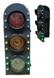 Orologio semaforo porta chiavi in metallo cm 63