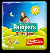 Pampers Sole e Luna Midi - Taglia 3 (4-9kg) - 22 Pannolini