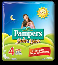 Pampers Sole e Luna Maxi - Taglia 4 (7-18kg) - 20 Pannolini