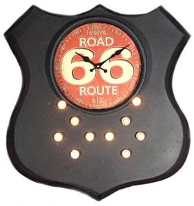 Orologio metallo Road Route 66 con luce cm 49