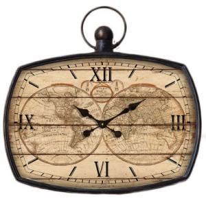 Orologio rettangolare mondo in legno cm 68
