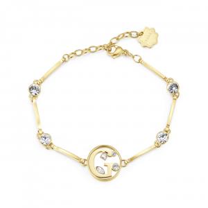 Bracciale CHAKRA in acciaio lettera G finitura oro con cristalli