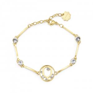 Bracciale CHAKRA in acciaio lettera Q finitura oro con cristalli