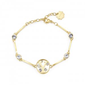 Bracciale CHAKRA in acciaio lettera Y finitura oro con cristalli