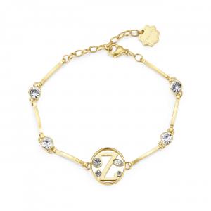 Bracciale CHAKRA in acciaio lettera Z finitura oro con cristalli