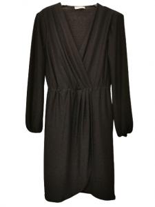 Abito donna nero |maglina di lurex | con scollo a V  |spacco anteriore | spalle imbottite | made in Italy