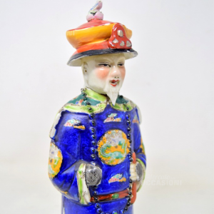 Porcelain Statue Chinese Man Nobile Dress Blue High 28 Cm Hand Painted