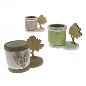 Quadrifoglio - collezione Luce, p/piante su base di legno