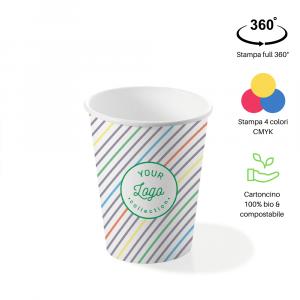 Bicchieri personalizzati biodegradabili cartoncino 240ml