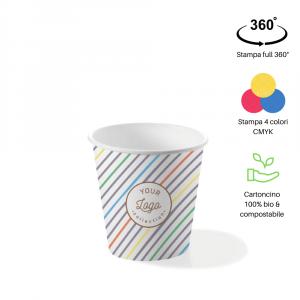 Bicchieri personalizzati biodegradabili cartoncino 120ml caffè