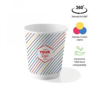 Bicchieri personalizzati biodegradabili cartoncino doppio strato 360ml
