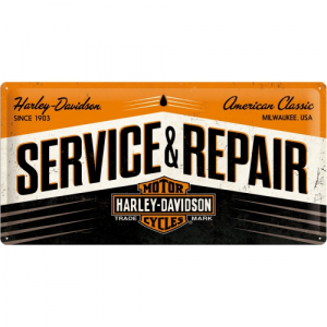Cartello Service & Repair Harley Davidson cm 25 x 50 metallo