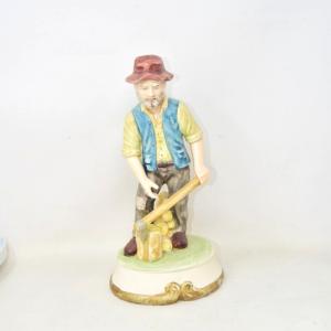 Statua In Ceramica Contadino Taglia legna 29 Cm