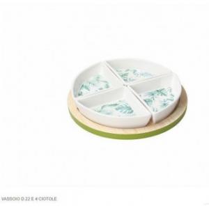 Tognana Set 4 Ciotole In Porcellana Decorate Bianco Con Ricamo e Vassoio Linea Tapas Managua Cucina Casa