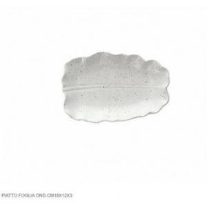 Tognana Piatto a Forma di Foglia di Alloro Ondulata 18x12x3 cm Bianco In Porcellana Per la Casa Tavola Cucina