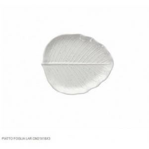 Tognana Piatto a Forma di Foglia di Alloro 21x18x3 cm Bianco Con Decorazione e Ricamo Casa Cucina Tavola