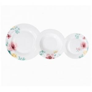 Tognana Olimpia Layla Set di Piatti 18 Pezzi Bianco Con Decorazione Floreale In Porcellana Elegante Tavola