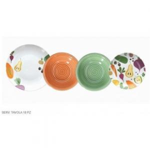 Tognana Madison Fruits Set di Piatti Decorati Colorati 18 Pezzi Per La Tavola Servizio di Piatti