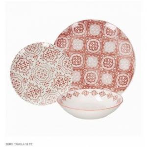 Tognana Metropol Coral Set di Piatti Colorati Decorati Ricamati 18 Pezzi Per La Tavola Elegante in Porcellana