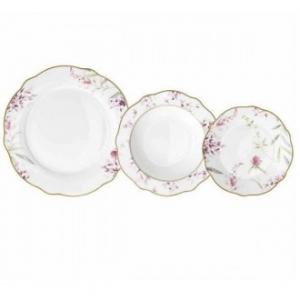 Tognana Cappetta Mirabel Servizio di Piatti 18 Pezzi In Porcellana Decorati In Rosa Fondo Bianco Elegante Servizio