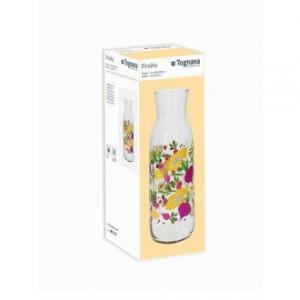 Tognana Clear Fruits Bottiglia Per Tavola Trasparente 1200 cc Con Stampe Frutta Multicolore in Vetro