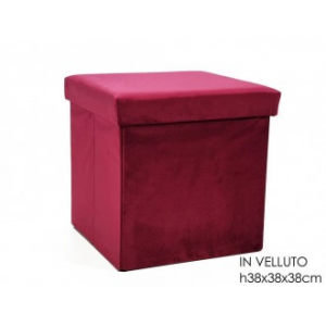 General Trade Pouf Richiudibile Con Contenitore Con Superficie Velluto Bordeaux 38x38 cm Arredo da Casa