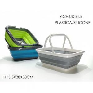 General Trade Bacinella Richiudibile in Plastica/Silicone Maneggevole Vari Colori Rettangolare