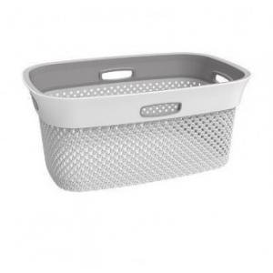 Cesta Portapanni Wooly Basket Grigio Bianco in Plastica Portapanni per Casa Bucato Con Manico