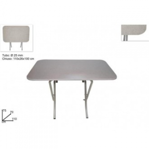 Due Esse Tavolo Richiudibile 70x110cm Colore Grigio per La Casa Multiuso Con Struttura di Metallo