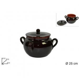 Due Esse Fagioliera con 4 Manici 25 cm Bicolore Lucida All'interno Terracotta Esterno Marrone Scuro Utensile da Cucina