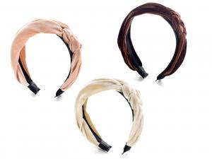 Cerchietto capelli in velluto liscio con intreccio decorativo