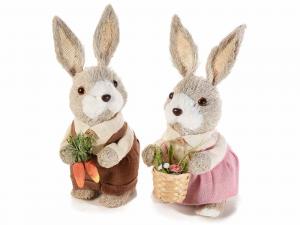 Coppia di coniglietti in fibra naturale