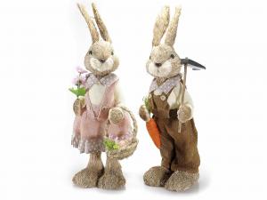 Coppia di conigli grandi in fibra naturale
