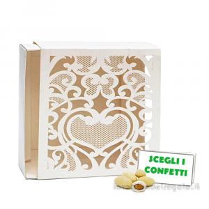 Portaconfetti Avorio con ricami Laser 11x3x11 cm - Scatole matrimonio